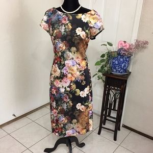 Beige by Eci Floral Dress (size 12) (H1)